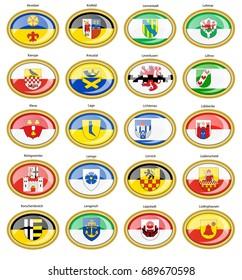 Set of icons. Flags of german cities (North Rhine-Westphalia). Vector. 3D.
