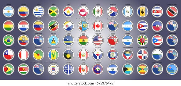 Set of icons. Flags of North, South and Central America. 3D illustration. Vector.