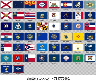 Set of icons. Flags of the states of USA