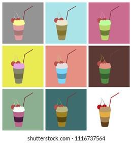 Set icons in flat design Milkshake with cherry