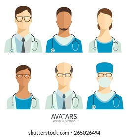 Set of icons in flat style. Doctors and medical staff.