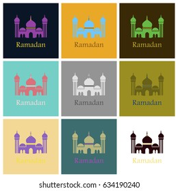Set of icons in flat style Ramadan mosque
