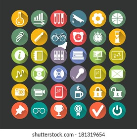 set  icons flat white with long white shadow a good choice for use in information graphics and interface