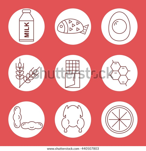 Set icons of  food allergens in a circle on a red background. Vector illustration.