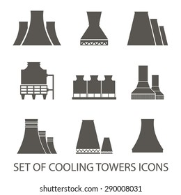 Set of icons in the form of cooling towers. Vector illustration. Silhouette icons