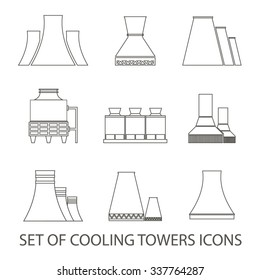 Set of icons in the form of cooling towers. Vector illustration. Outline icons