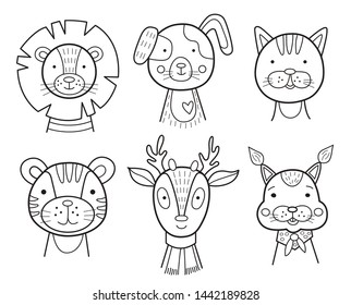 Set of icons with funny animals, vector illustration