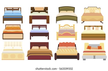 set icons furniture double bed vector illustration isolated on white background