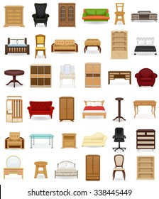 set icons furniture vector illustration isolated on white background