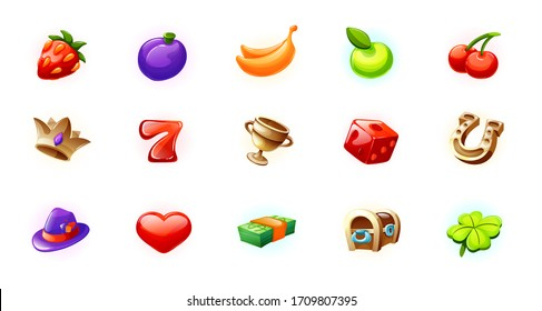 Set icons for the game interface. Casino icons for slot machines, lotteries. Bonus logos for gambling. Strawberry, banana, apple, cherry, crown, bowl, cube, horseshoe, heart hat clover vector