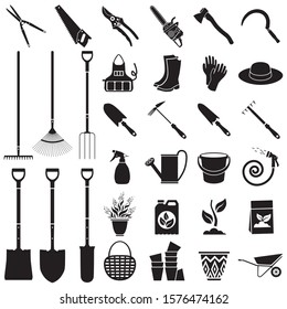 Set of icons garden tools. Contours of tools, clothes and accessories for work in the garden and vegetable garden. Vector illustration isolated on white background for design and web.