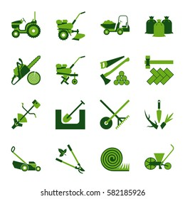 Set of icons for gardening and agricultural works