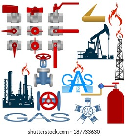 Set icons gas production and gas processing industries. Illustration on white background.