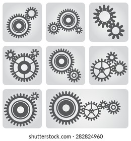 Set of icons with gear wheels in gray color