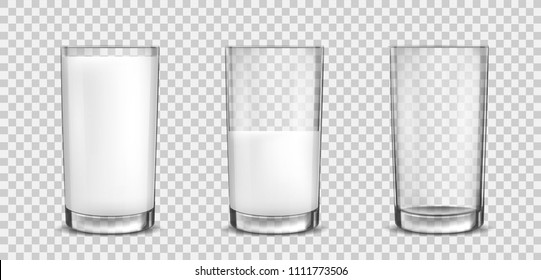 Set of icons glasses with a milk. Vector EPS10