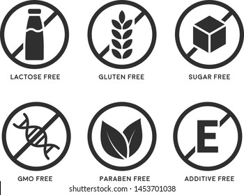 Set of icons: Gluten Free, Lactose Free, GMO Free, Paraben, Food additive, Sugar free. Vector illustration.