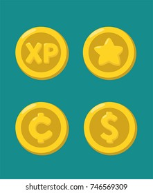 A set of icons of gold coins with the image: experience points; dollar; cent; star