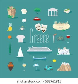 Set of icons with Greek landmarks in vector. Ancient ruins, Athens acropolis, Santorini island, Greek cheese symbols for visit Greece collection