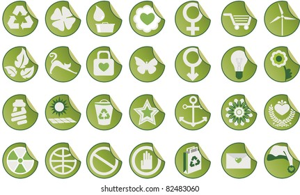 Set of icons. Set of green icons with different themes.