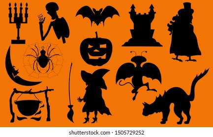Set of icons - halloween characters. A collection of images in the form of black silhouettes representing the feast of veneration of the dead and their spirits, the activation of evil spirits.