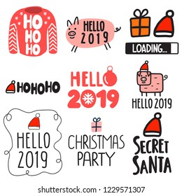 Set of icons for happy new year 2019 and christmas themes. Vector lettering hand drawn illustration for greeting card, stickers, t shirt, posters design.