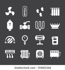 Set icons of heating isolated on black. Vector illustration