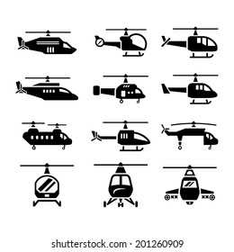 Set icons of helicopters isolated on white. Vector illustration