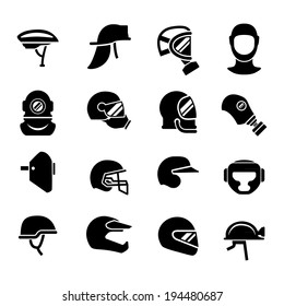 Set icons of helmets and masks isolated on white. Vector illustration