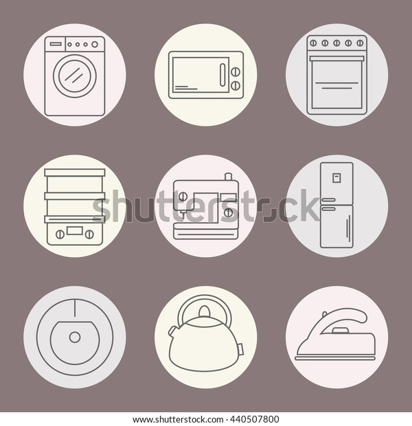 Set of icons of home appliances. Icons appliances for kitchen, cleaning and sewing. Vector illustration.