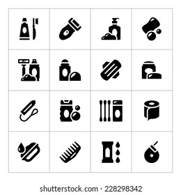 Set icons of hygiene isolated on white. Vector illustration