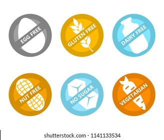Set of icons illustrating absence of common food allergens (gluten, dairy, egg, nuts, sugar) plus vegetarian signs.