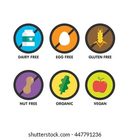 Set of icons illustrating absence of common food allergens (gluten, dairy, egg, nuts) plus vegan and organic signs. Colorful set.