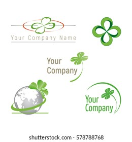 Set of icons and illustrations clover and graphic elements to create a logo or design. Isolated vector on white background.