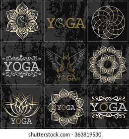 Set of icons, illustrations and logos on the theme of yoga and healthy lifestyle. Gold and white