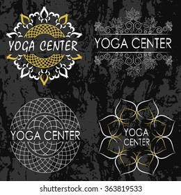 Set of icons, illustrations and logos on the theme of yoga and healthy lifestyle. Gold and white colors.