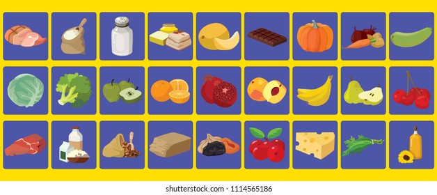 A set of icons with images of products.