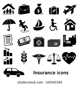 Set icons insurance. Vector illustration of different kinds of insurance. Can be used for infographics and typography, chart process the insurance company, business service steps options