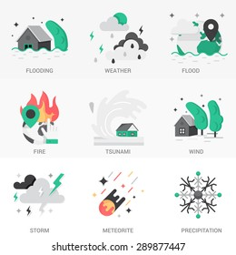 Set of icons into flat style. Emergency, weather and natural disasters.