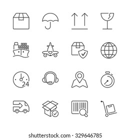 set of icons isolated for logistics and transport
