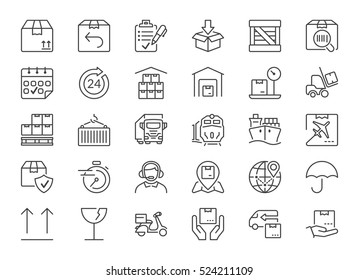 set of icons isolated for logistics,delivery and transport