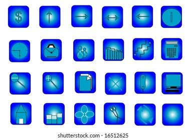 Set of icons isolated on blue