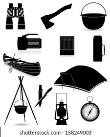 set icons items for outdoor recreation black silhouette vector illustration isolated on white background
