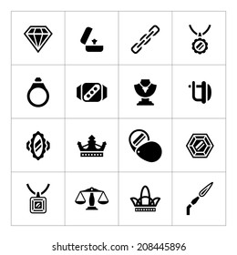 Set icons of jewelry isolated on white. Vector illustration