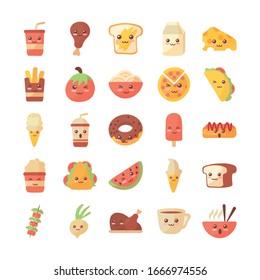 set of icons kawaii food on white background vector illustration design