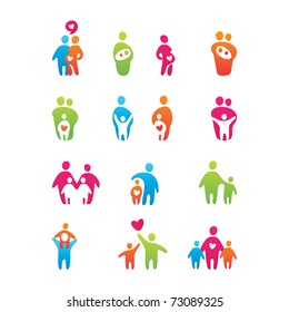 set of icons - kids and parents
