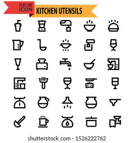 Set of icons kitchen utensil outline in black isolated over white background