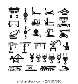 Set icons of lifting equipments, cranes, winches and hooks isolated on white. Vector illustration