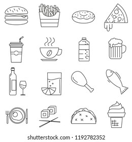 Set of icons in line style, eating fast food