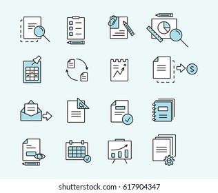 Set of icons linear design documents for business, finance and communication. Vector illustration