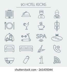 Set of icons of linear hotel service. Hotel glyph. vector illustration